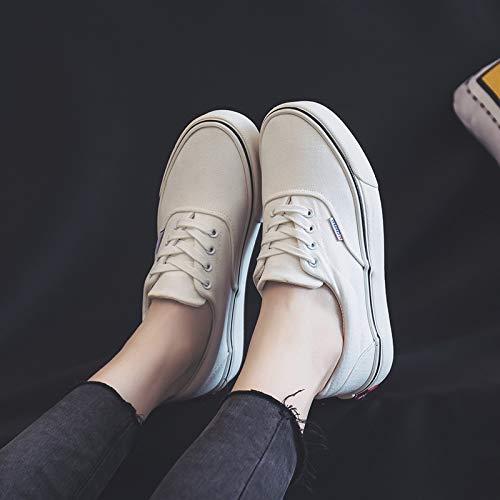 YUNDONGXIENV Leichtathletikschuhe Leinwand Schuhe Frauen Wilde Weiße Schuhe Student Schuhe Schuhe Schuhe 2018 Herbst Harajuku Paar Schuhe 19a204