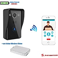 Battery Powered HD Video Wifi Wireless Doorbell, Rechargeable Long Standby ,Night Vision, 2-Way Audio, IR-CUT, Motion Sensor, Door Camera,Waterproof Intercom System, Unlocking(ONE Wireless Chime)