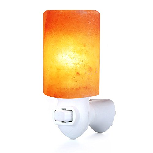Pursalt Himalayan Crystal Salt Wall Lamp Cylinder-Shaped Night Light Hand Carved Salt Rock Lamp with UL-Approved Wall Plug for Lighting, Decoration and Air Purifying