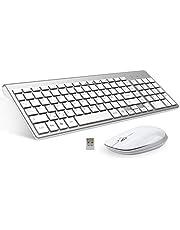 FENIFOX Teclado inalámbrico y ratón, diseño ergonómico 2,4 G Teclado inalámbrico y ratón Combinado con Nano Receptor USB para PC de Escritorio, Mac OS Windows Linux (Plata)