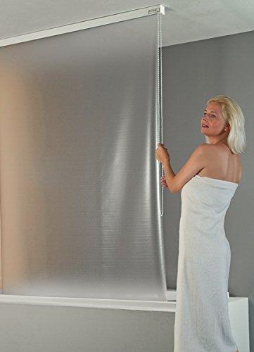 con contenitore per montaggio a soffitto 134 cm ECO-DuR 4024879000660 bianco Tenda a rullo per doccia non stampata