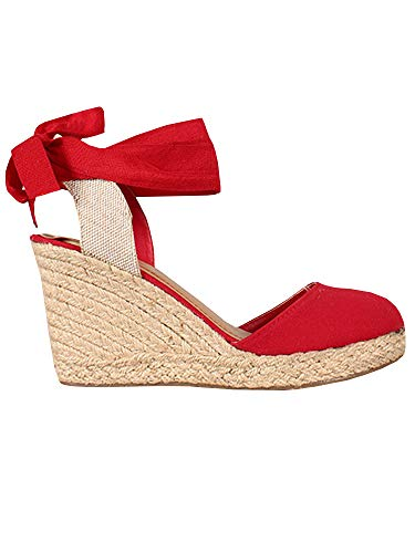 Womens Wedge Espadrille Sandals Closed Toe Platform Lace Up Slingback Ankle Wrap Strap Sandals Red