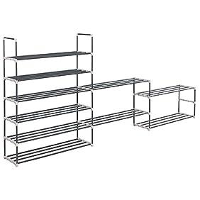 SONGMICS Customizable Closet Organizer System Shoe Storage Rack Cabinet Grey 10-Tier ULSA73G