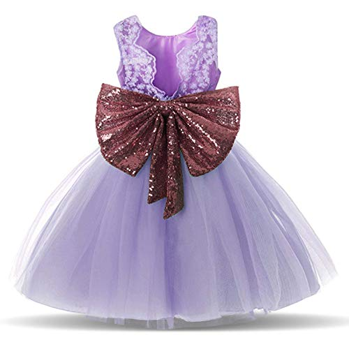 Purple Flower Girl Dresses for Wedding Bridal Gold Sequin Tulle Tutu Dress Party Princess Pageant Ball Gown Size 5 5T A Line Backless Birthday Elegant Gowns Age 5 Purple 120 by Debispax