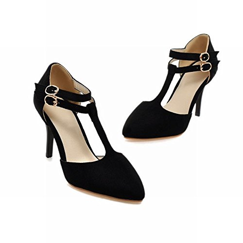 High Heel Black Stiletto Women's Charm Sandals Buckles Shoes Elegant Carol xYwXzIgqz