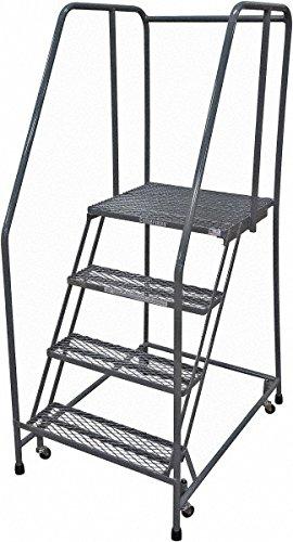 Escalera de almacenamiento, 4 peldaños, altura total de 177,8 cm, acero serrado, rodillo de seguridad: Amazon.es: Amazon.es