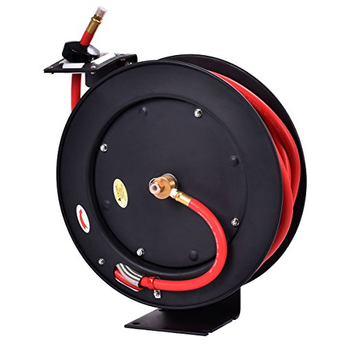 Goplus Air Hose Reel Auto Rewind Retractable Hose Compressor with 3/8