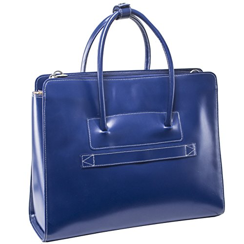 Briefcase Ladies Removable Wheeled (McKlein LAKE FOREST Navy Leather Women's Case with Removable Sleeve (94337))