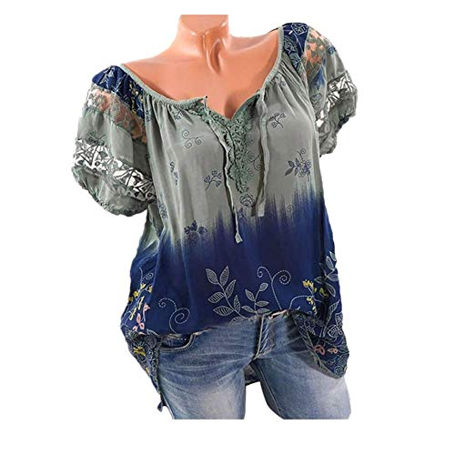 Women Short Sleeve V-Neck Lace Printed Lace Tops Loose T-Shirt Blouse(5XL, Z_Army Green)]()