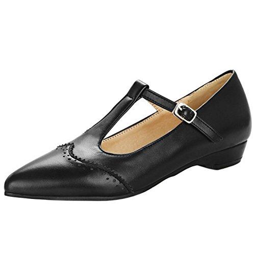 Coolcept Women Fashion Low Heel Pumps Shoes Black siwV1zh