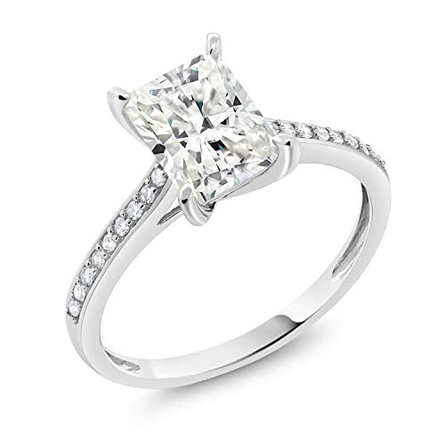 Gem Stone King 10K White Gold Timeless Brilliant Created Moissanite and Diamond Women's Engagement Ring 1.60ct (DEW) Available in size 5, 6, 7, 8, (I Carat Diamond Ring)