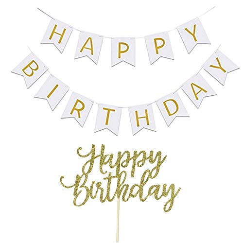 YOFEY1 Happy Birthday Banner, White and Gold, Party Decorations, Happy Birthday Cake Topper -