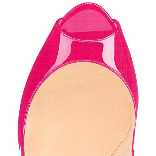 Soireelady Women's Peep Toe Court Shoes Stiletto High Heel Pumps Rose W7TXN