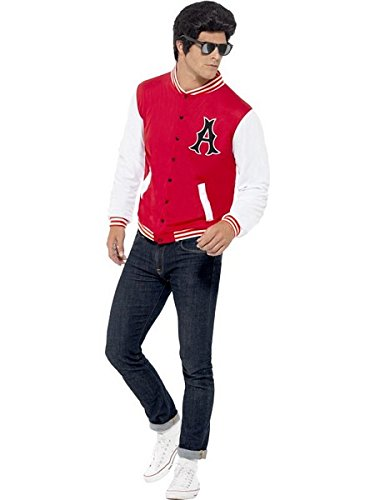 Smiffy's Men's 50's College Jock Letterman Jacket, Red L - US Size 42
