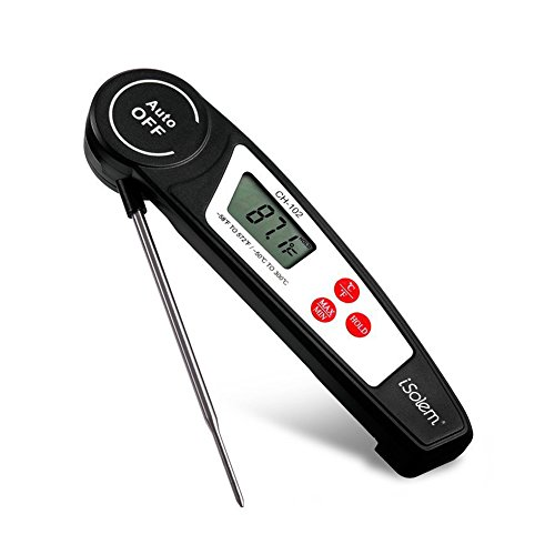 iSolem Meat Thermometer, Digital Instant Read Long Probe Food Thermometer, Fast & Auto On/Off Best for Barbecue, Candy, Cooking, Milk, Tea, Kitchen, Grill Smokers,etc (Black) ()
