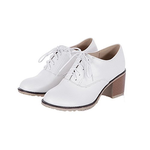 Odomolor Women's Low-Heels PU Solid Lace-up Round-Toe Pumps-Shoes, White, 42