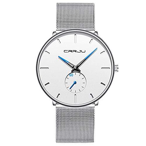 Men's Watch Unisex Minimalist Watch Waterproof Watch Classic Gift Mesh with White Blue Pointer - All White Watch