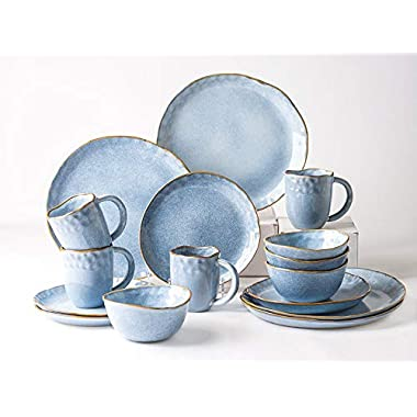 Pangu 16-Piece Dinnerware Sets, Service for 4,Blue, Handmade Random Shaped, 4 Bowls, 4 Dishs, 4 Salad Plates, 4 Mugs, AQUAMARINE