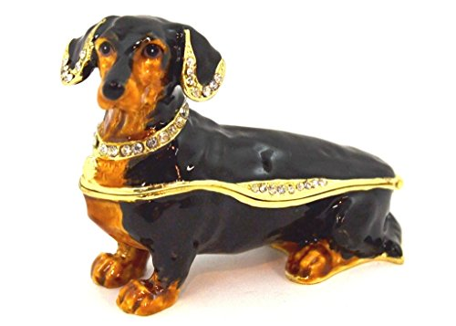Dachshund Trinket Box with Clear Swarovski Crystal, Black & Brown Enamel Over Solid Pewter Base, Inside Of box with Lovely Enamel, Comes in Beautiful Gift Box