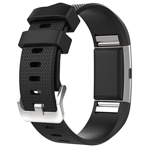For Fitbit Charge 2 Bands, FreshZone Accessories Replacement Silicone Watch Band Wristband for Fitbit Charge 2 (No Tracker) (Black)