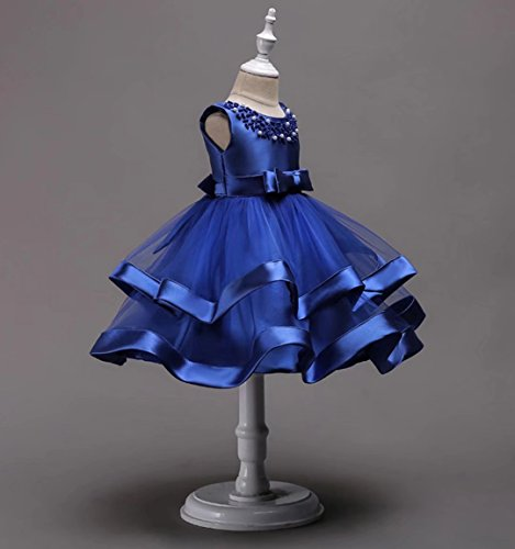 AYOMIS Girls Lace Bridesmaid Dress Wedding Pageant Dresses Tulle Party Gown Age 3-9Y(Blue,5-6Y) by AYOMIS (Image #3)