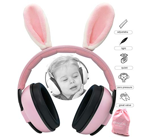 PORMUCAL Baby Ear Protection for Babies for 3 Months to 2+ Years Noise Reduction Ear Muffs for Infant and Toddlers. (Pink2)