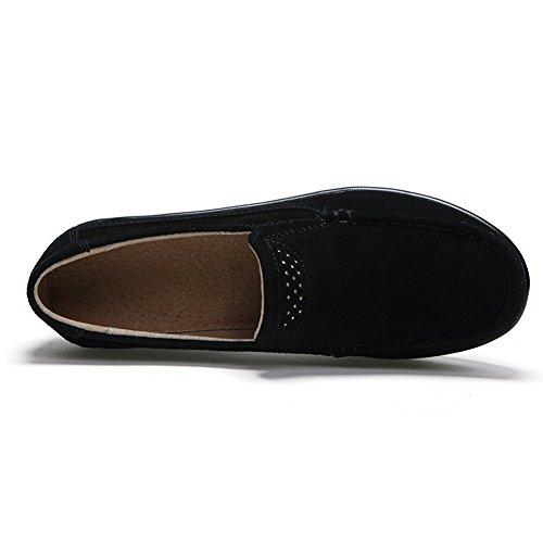 HKR Frauen Loafers Slip-on-Plattform Turnschuhe Komfort Wildleder Mokassins Schuhe fahren Schwarz