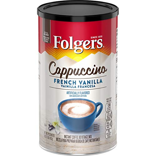 Folgers Cappuccino French Vanilla Beverage Mix, 16 Ounce, 6 Count, Packaging May Vary