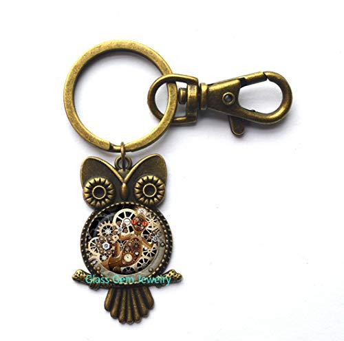 Steampunk Lizard Owl Keychain,Gecko Glass Owl Key Ring Mechanical Clock Round Glass Dome Owl Key Ring Owl Keychain s Jewelry,Q0126 (Y2)