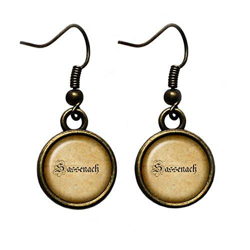 Outlander Sassenach Spelling #2 Antique Bronze Earrings