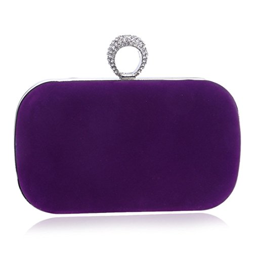 Purse Evening Banquet Color Bag Handbag Ladies Blue KERVINFENDRIYUN Purple Clutch Dress Suede Fashion Bag 5xaBqzp