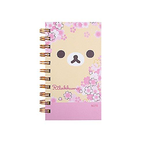 San-X Rilakkuma College Ruled Mini Spiral Notebook Note Pad : Cherry Blossoms (Ivory)