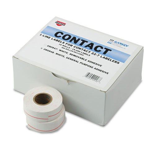 Garveyamp;reg; - One-Line Pricemarker Labels, 7/16 x 13/16, White, 1200/Roll, 16 Rolls/Box (Price General Purpose Tamper)