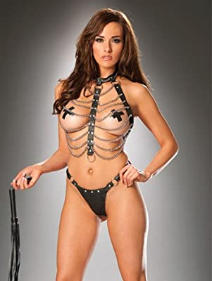 Leather Chain Vest Set in Black