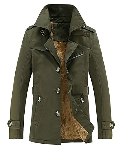 Coat Parka Entrance Army H Happiness Stylish Button Outdoor Green amp;E Men's Solid Fleece Warm Lapel P7wqUZnS