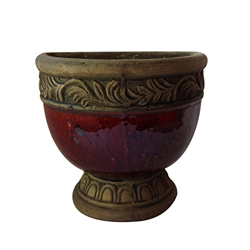 Old World Ceramic - Old world hand-pressed terracotta glazed hanging pot 3 colors available (coffee)