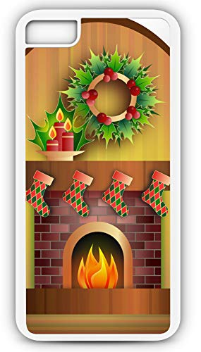 - iPhone 7 Case Fireplace Candle Celebration Christmas Festive Customizable by TYD Designs in White Rubber