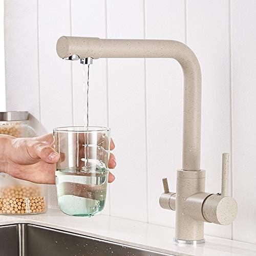 水栓 ベージュキッチンシンク銅ダブルタップ塗装はダブルアウトレット水の蛇口温水と冷水空調スイッチ ZHQJP