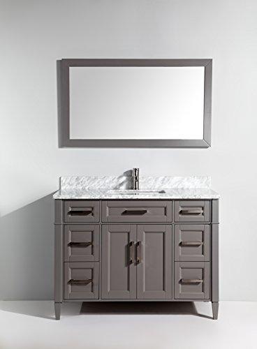 Vanity Art 48 Inch Bathroom Vanity Set with Carrara Marble Stone with Free Mirror VA2048-G