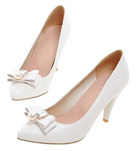 AllhqFashion Womens High-Heels PU Solid Closed-Toe Pumps-Shoes White 0UUGwAf