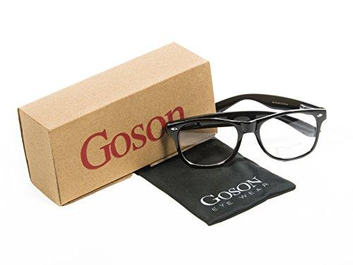 Goson Vintage Hipster Nerd Black Frame/Clear Lens Wayfarer 57 mm Glasses