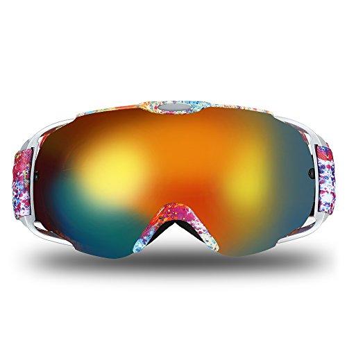Lixada Ski Goggles,Snowboard Goggles UV Protection Anti-Fog Snow Goggles Helmet Compatible Spherical Dual Lens Design Men Women Youth