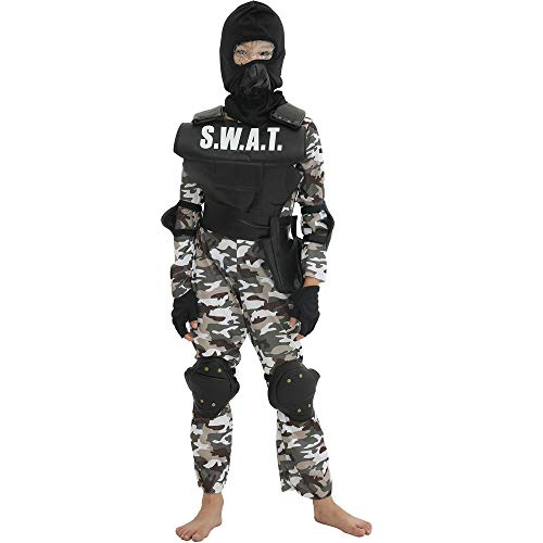 Kids Special Forces Costume Boys Army Uniform Child Halloween Cosplay Soldier Camouflage S.W.A.T.Officer Outfit -