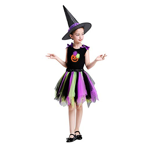 Clearance Sale!Toimoth Toddler Kid Baby Girl Halloween Skirt Tops Party Sets Hat Pumpkin Print Clothes (Purple,120)