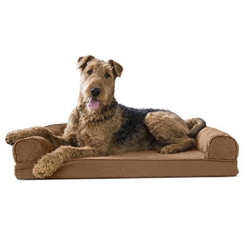 Furhaven Pet Dog Bed | Memory Foam Quilted Traditional Sofa-Style Living Room Couch Pet Bed w/ Removable Cover for Dogs & Cats, Toasted Brown, Large