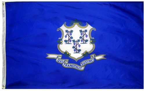 Connecticut State Flag 3x5 ft. Nylon SolarGuard Nyl-Glo 100% Made in USA to Official State Design Specifications by Annin Flagmakers.  Model 140760 (Connecticut State Flag)