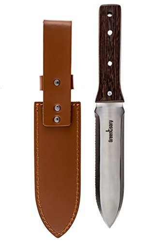 Greentisory Hori Hori Garden Knife With Thick Leather Sheath-Great Gardening Trowels and Digging...