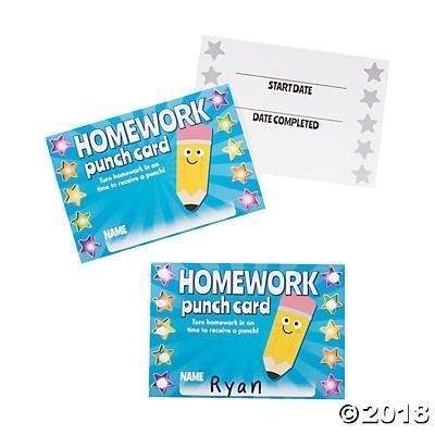 60 Homework Punch Cards~Classroom/Teacher Supplies~Student Incentives~