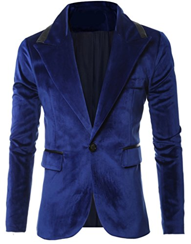 REYUY Mens Slim Fit Notched Lapel 1 Button Velvet Suit Jacket Blue