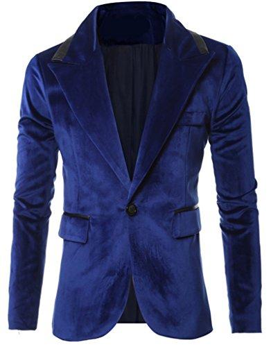 Blue Velvet Blazer - REYUY Mens Slim Fit Notched Lapel 1 Button Velvet Suit Jacket Blue